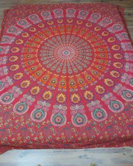 Indiai ágyterítő piros bordó mandala