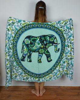 Zöld elefántos szarong