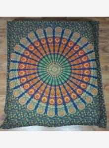 Indiai ágyterítő mandala kék zöld 2 562x764