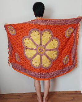 Narancssárga virágos szarong